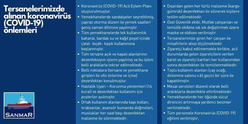 sanmar corona virus önlemleri